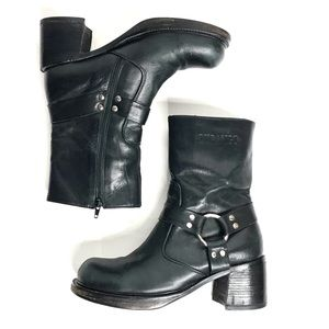 Durango Vintage Harness Platform Ankle Boots Black
